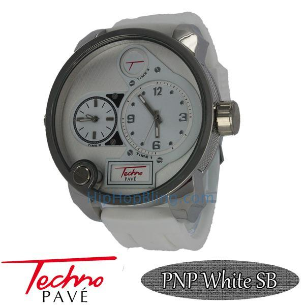 Dual Time Zone Watch White Silicone Band