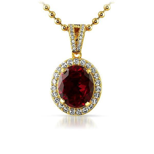 .925 Silver Gold Oval Red Lab Ruby Gem Pendant (Free 36 Inch Bead Chain)