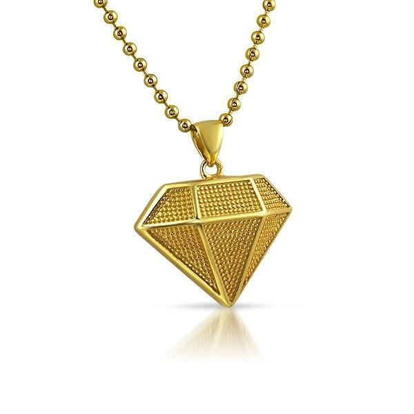Mini Diamond Shape Gold .925 Sterling Silver Pendant