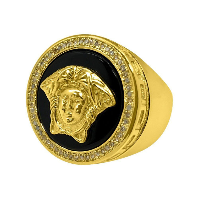 .25 Carat Diamond Medusa Hip Hop Ring Gold .925