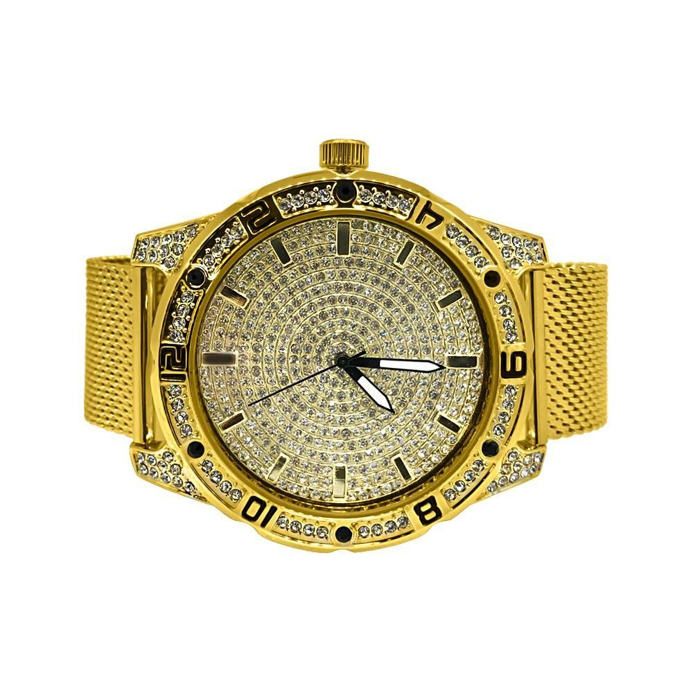 Bling Bling Dial Sport Gold Mesh Band Watch