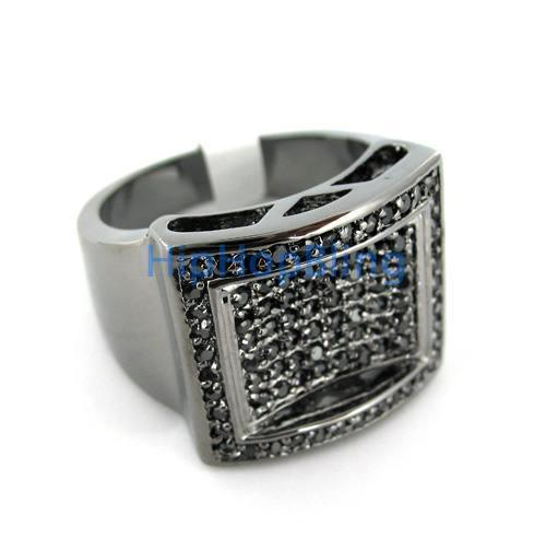 Pool of Ice Bling CZ Mens Black on Black Ring