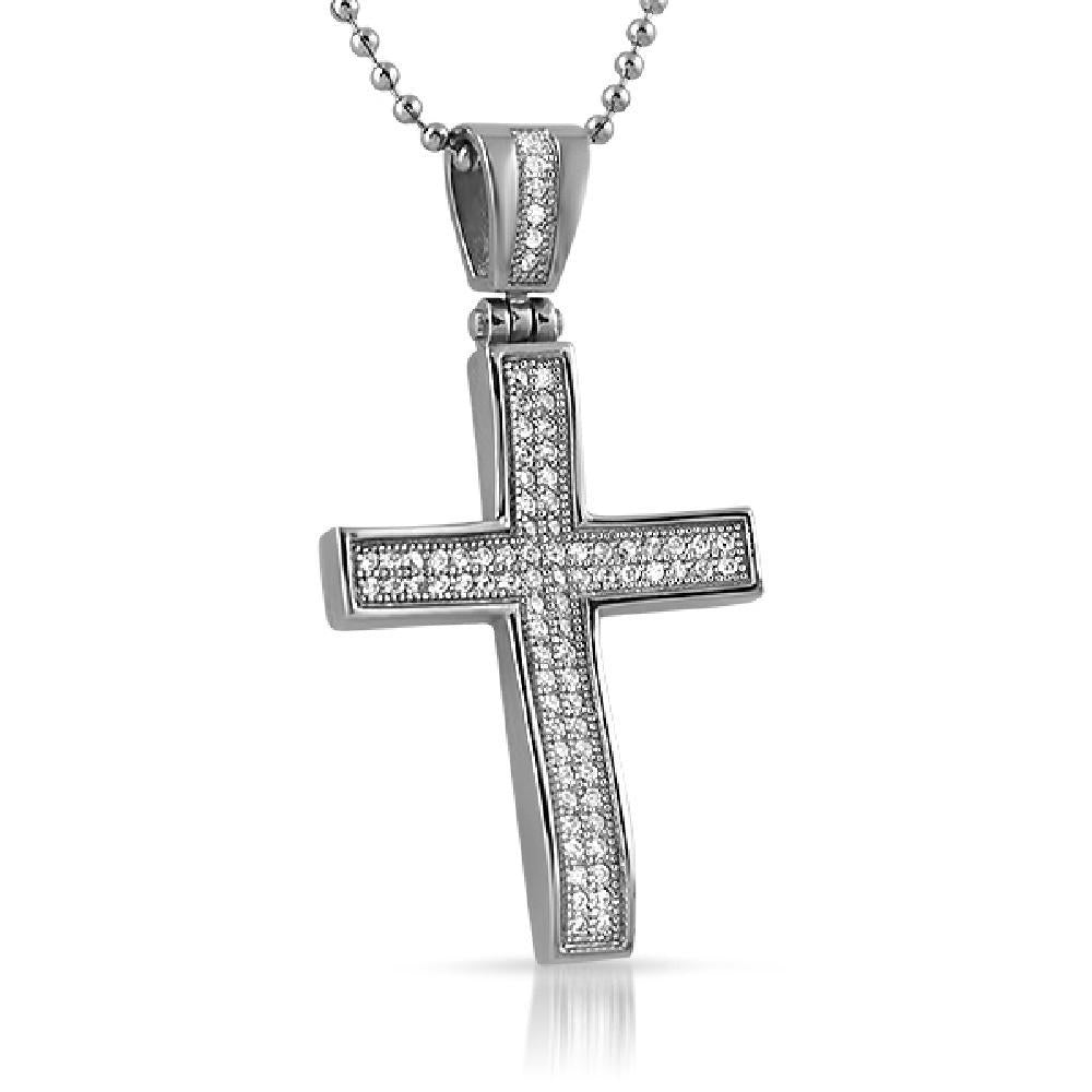 Bling Bling Concave CZ Mini Cross Stainless Steel