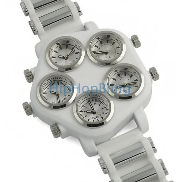 All Working 5 Timezone Hip Hop Watch White