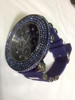 3D All Blue 3 Row Bling Bezel Bling Bling Watch