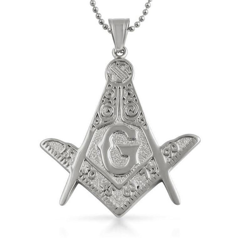Large Fancy Masonic Free Mason Pendant Stainless Steel