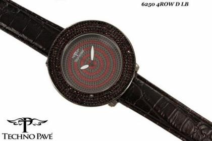 4 Row Red Bling Bling Techno Pave Watch