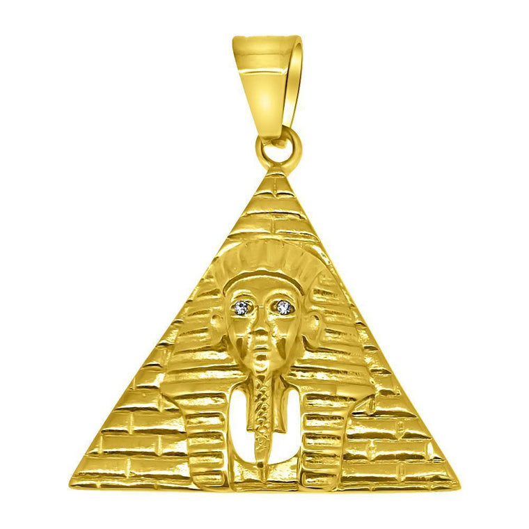 Gold Pyramid Stainless Steel Pendant