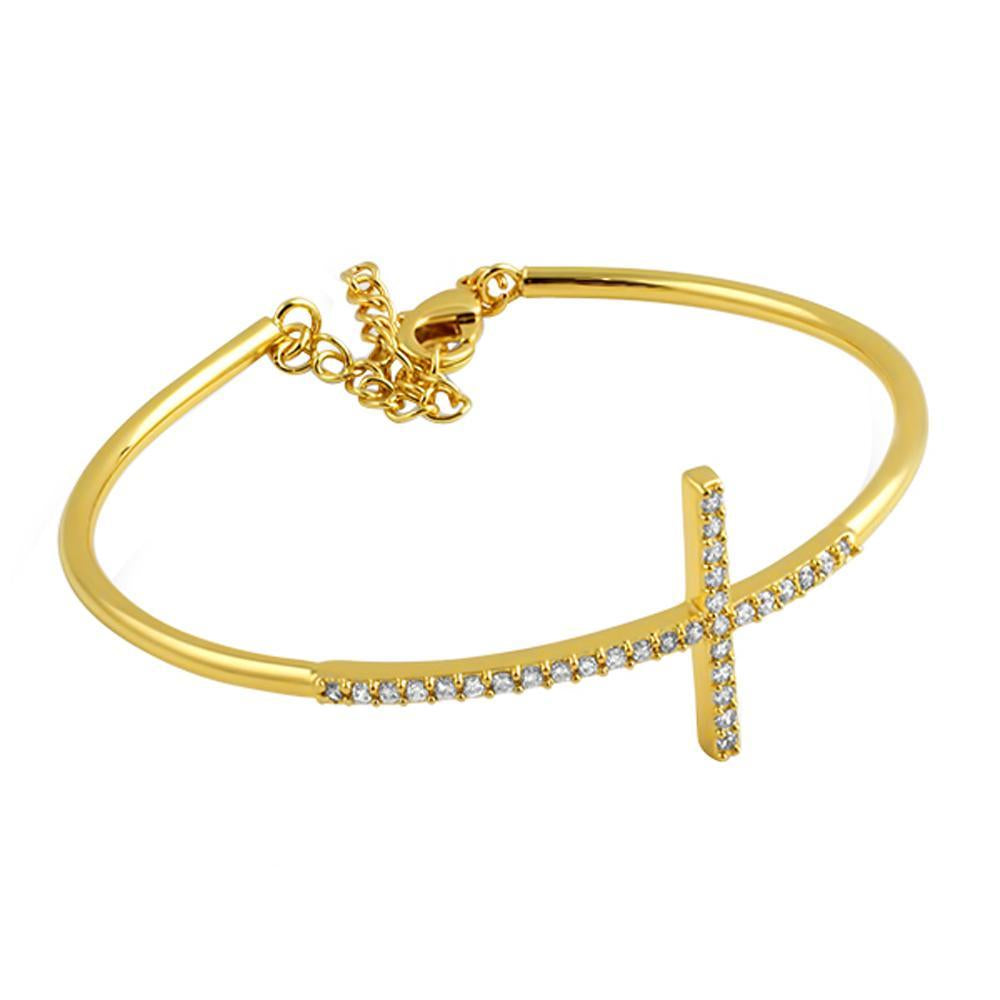 CZ Cross Bangle 18K Gold Plated