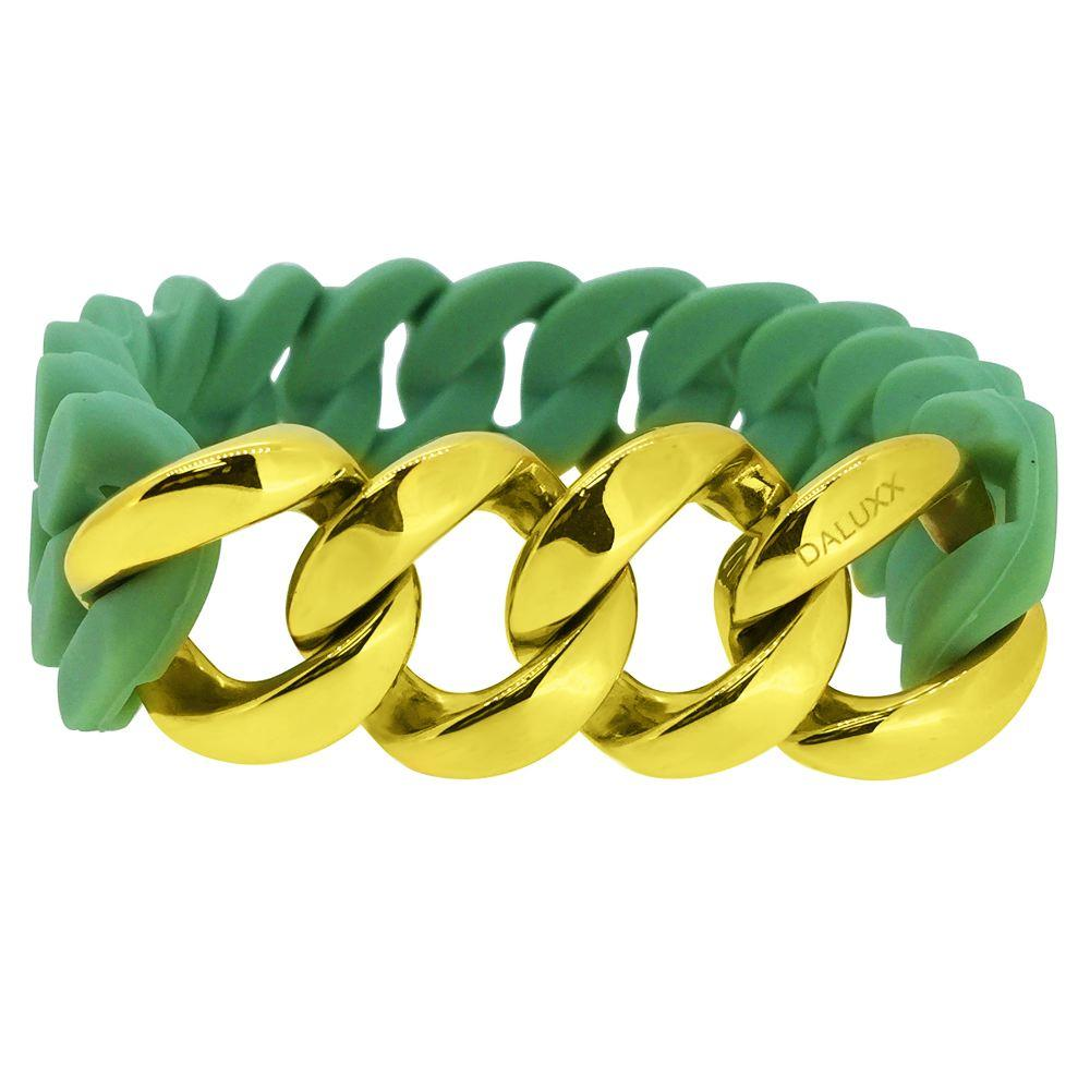 Gold Cuban Green Rubber Bracelet