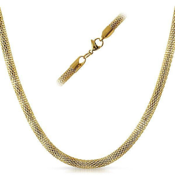 Popcorn IP Gold Stainless Steel Chain Necklace 4MM