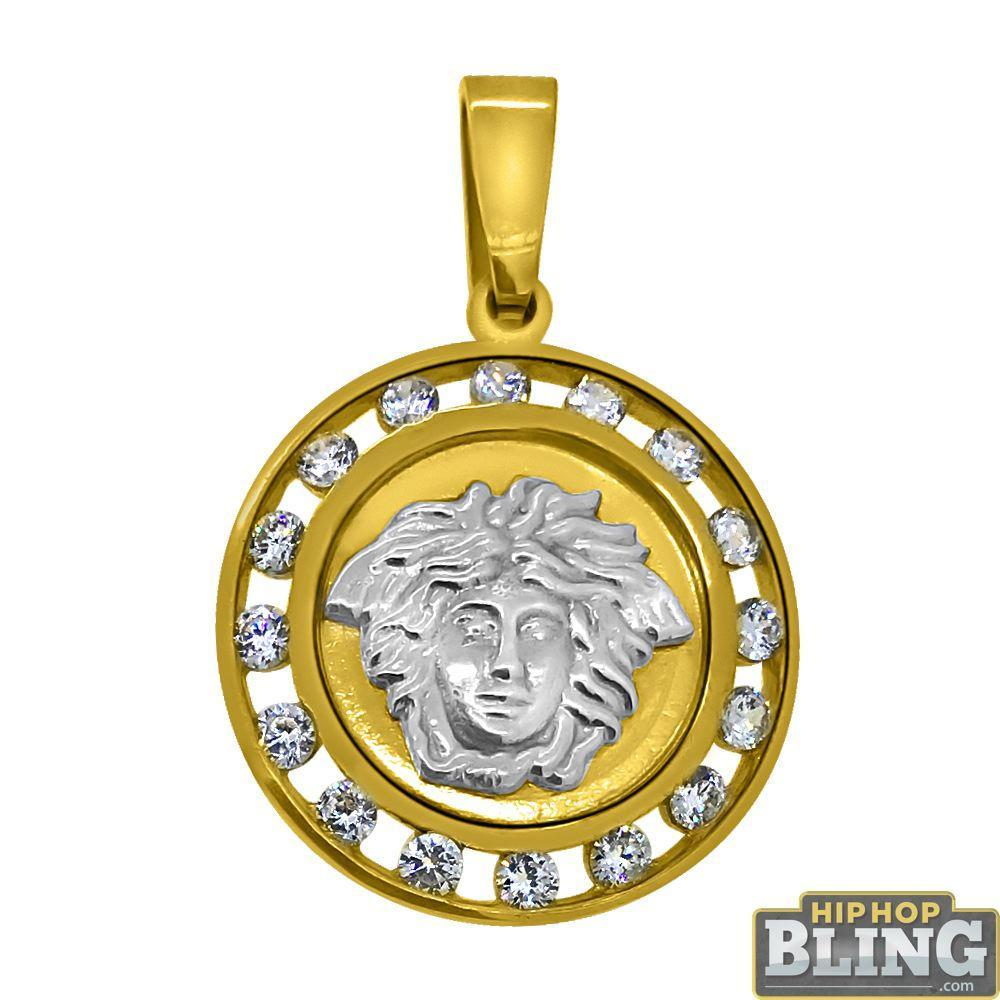 10K Yellow Gold Channel Set CZ Medusa Medallion