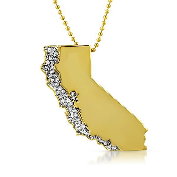California Gold Polished Iced Out Pendant