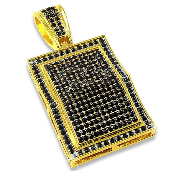 All Black Gold Block Pendant