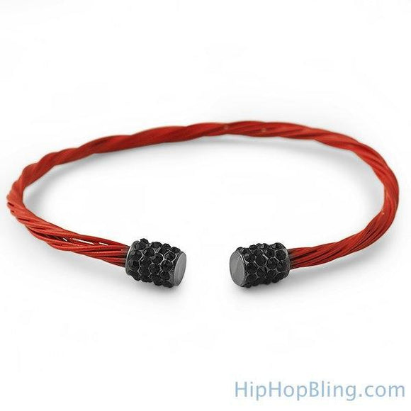 Black Bling Red Guitar String Style Bracelet