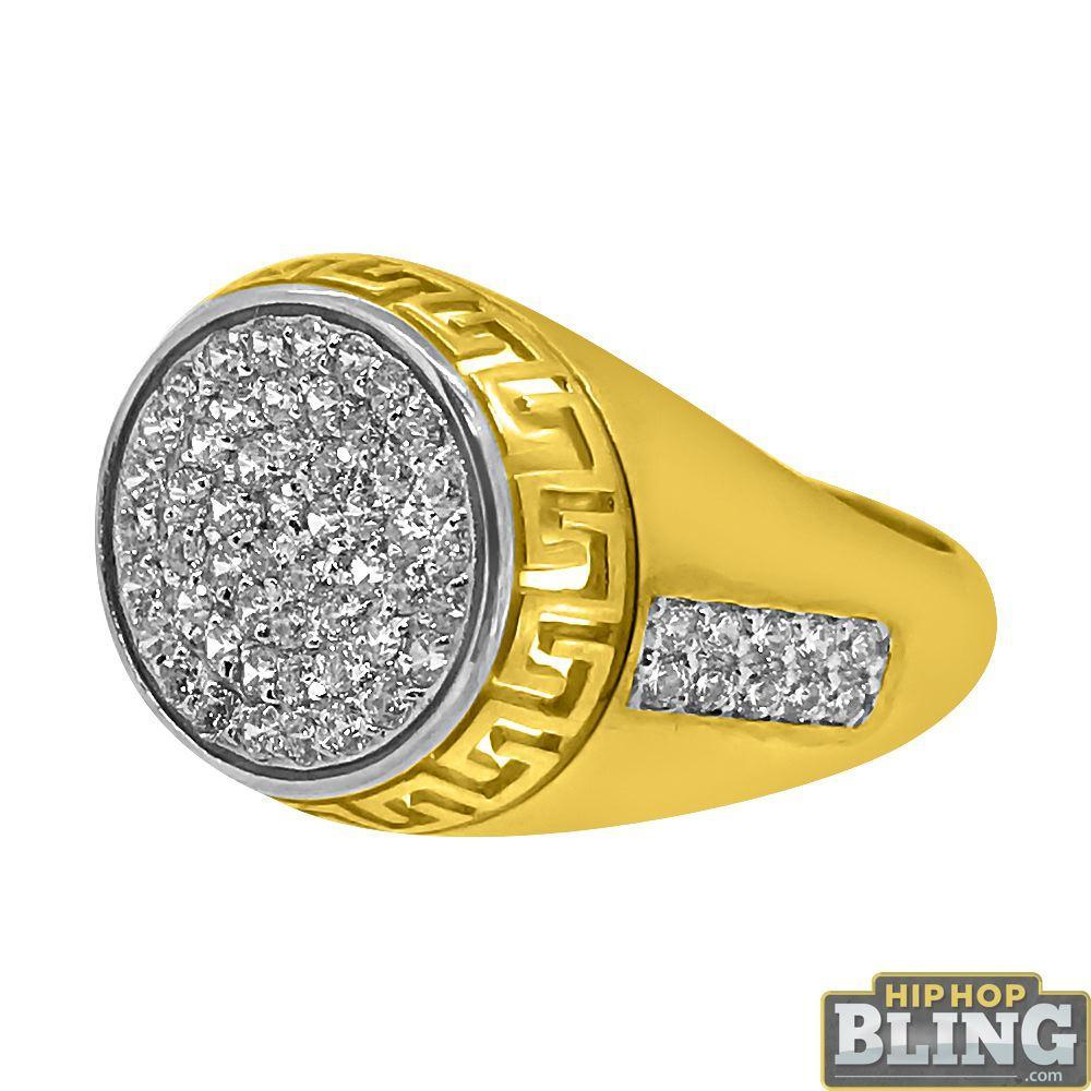 10K Yellow Gold Pave CZ Greek Pattern Trim Ring