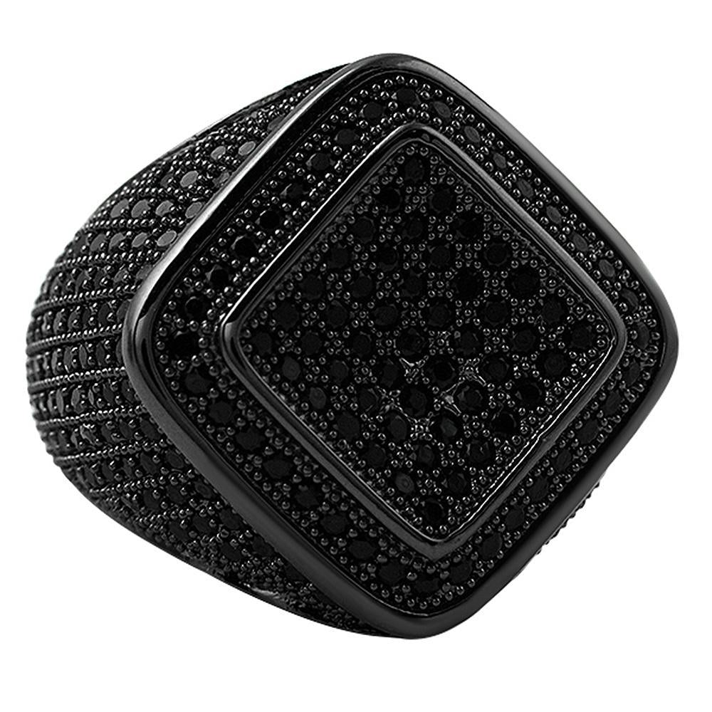 Deep Ice Black CZ Micro Pave Bling Ring