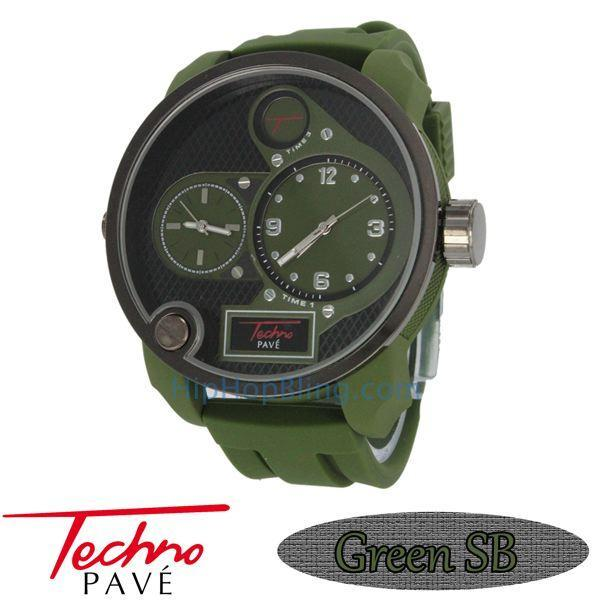 Green Dual Time Zone Watch Rubber Band