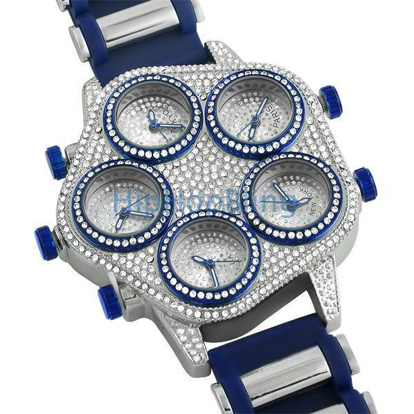 Bling Bling 5 Time Zone Watch Blue