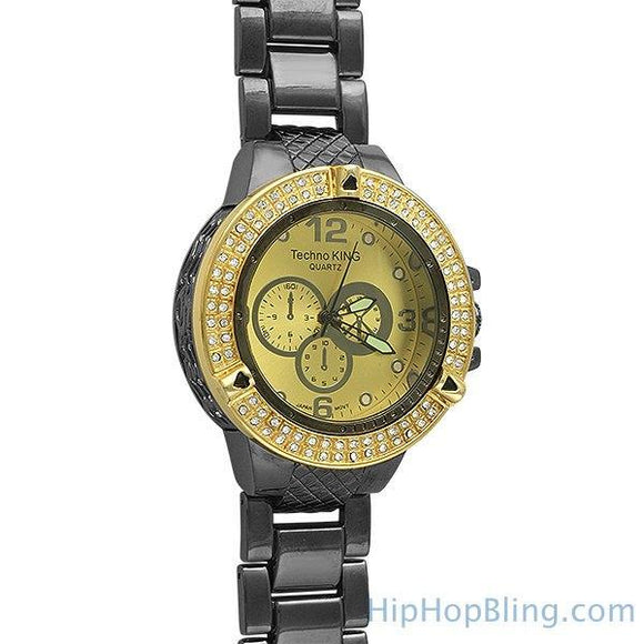 Double Ice Gold Black Bling Bling Watch