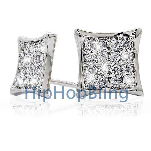 9mm .925 Sterling Silver Micro Pave Iced Out Earrings #01a