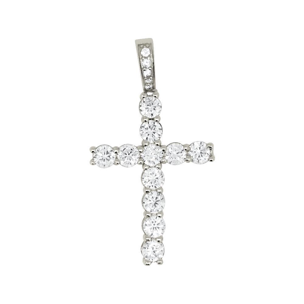 .925 Sterling Silver Tennis Bling Bling Cross Rhodium Wrapped