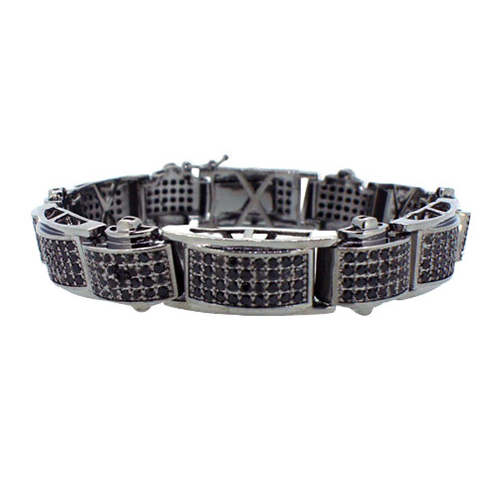 Domed Black Micro Pave CZ Bracelet