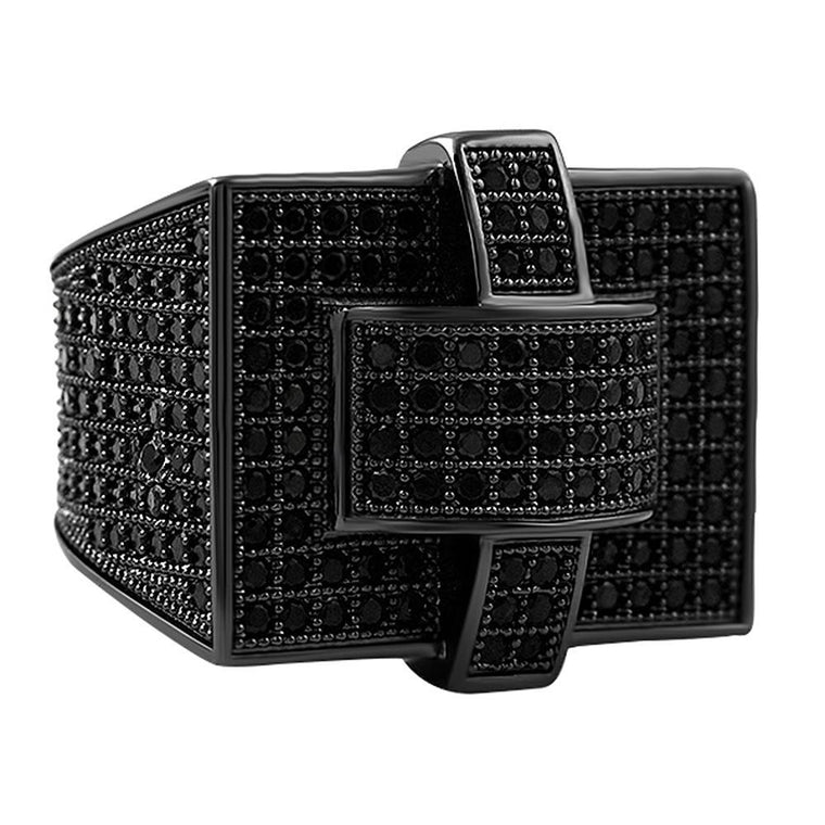 Cross Iced Out Black CZ Bling Bling Ring