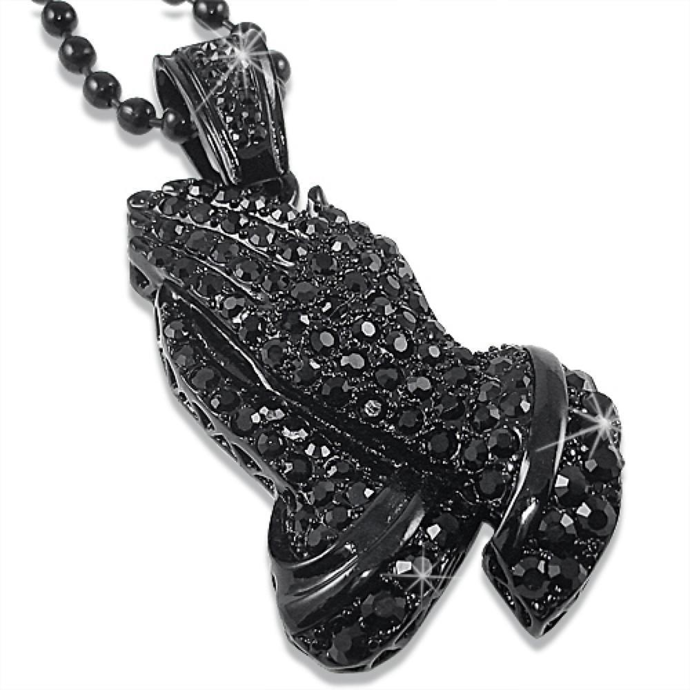 Praying Hands Black Pendant Chain
