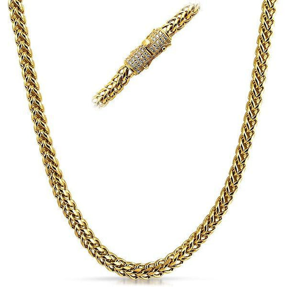 Real Diamond 6MM Stainless Steel Gold Franco Chain