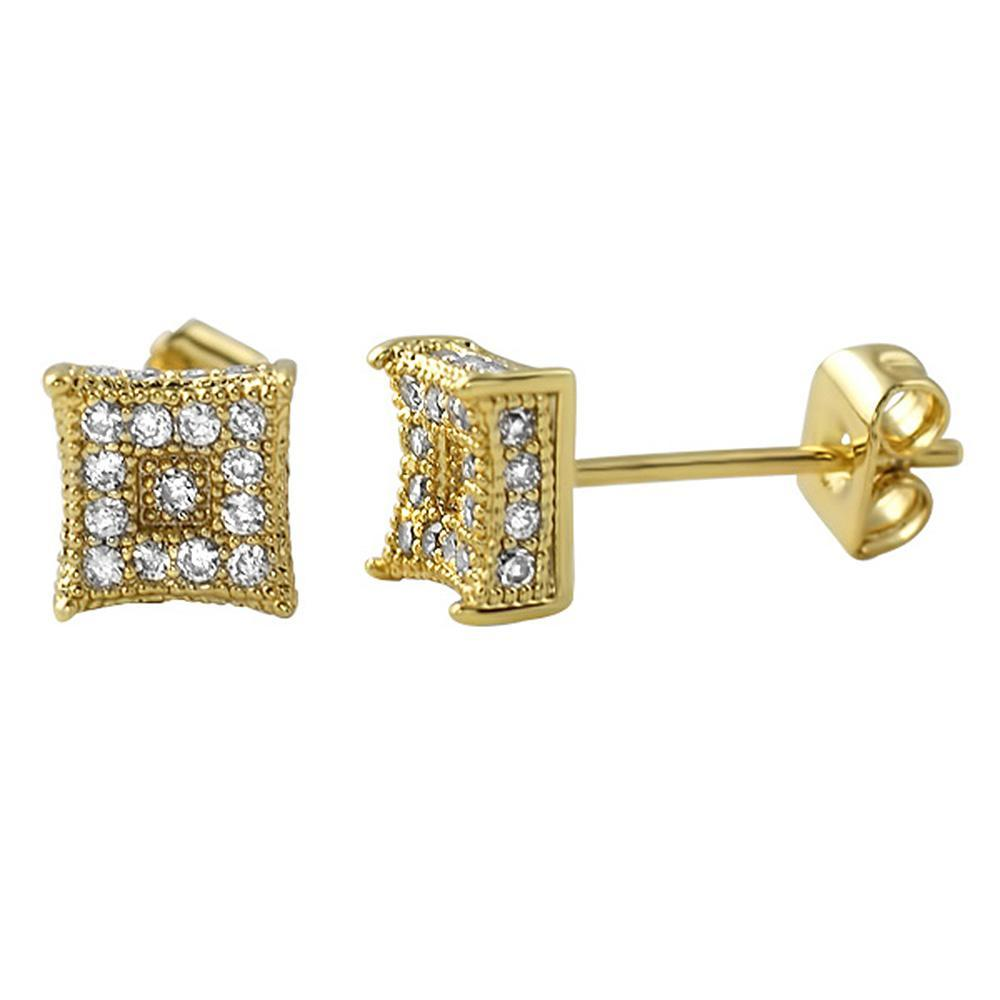 3D Box Kite S Gold Micro Pave CZ Earrings