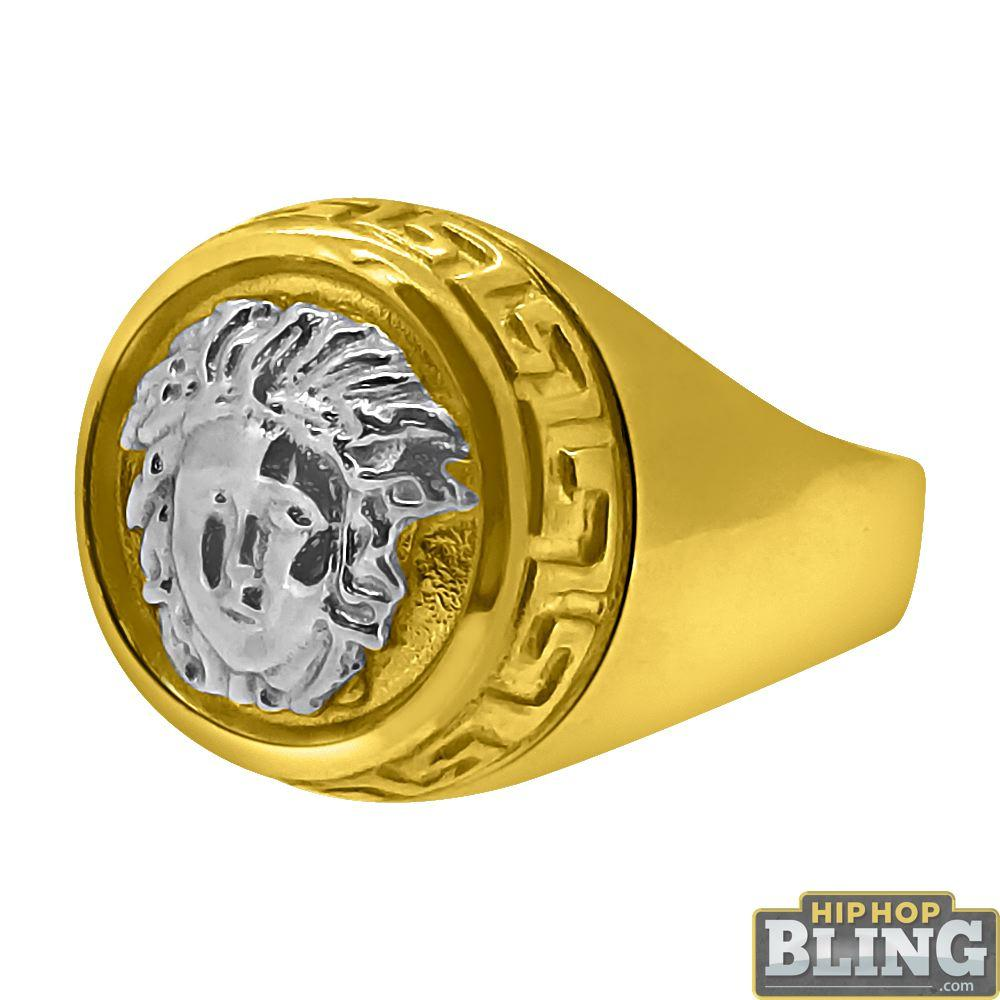 10K Gold 2 Tone Circle Medusa Ring Greek Trim