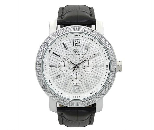 .10ct Real Diamonds Super Techno Watch Bling