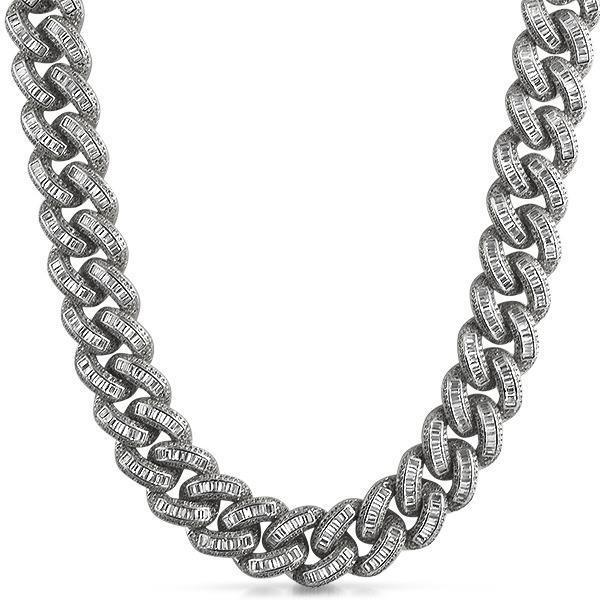 .925 Sterling Silver CZ Baguette Micro Pave Chain