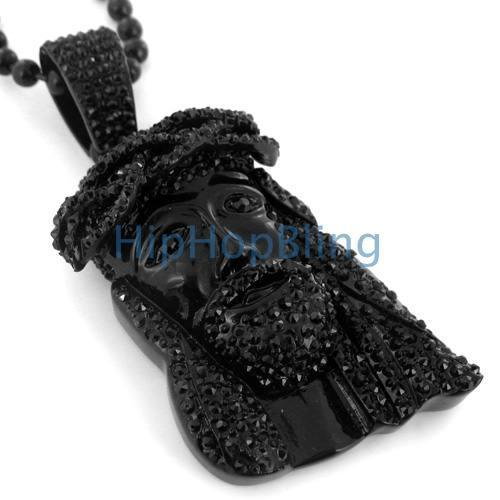 3D Kanye West Style Black on Black Jesus Piece & Chain