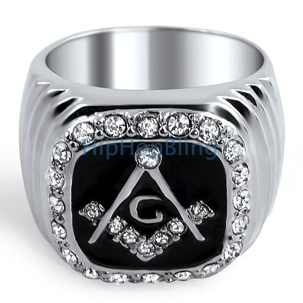 Masonic Bling Bling Mens Ring