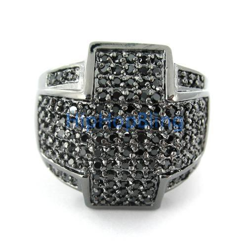 Iced Out Cross Wraparound Black CZ Mens Ring