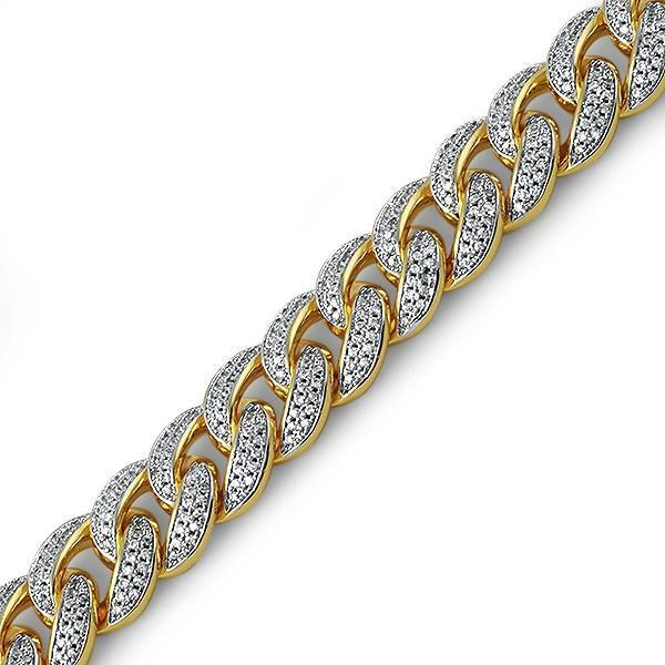 .925 Silver Gold 15MM Miami Cuban Bling Bracelet