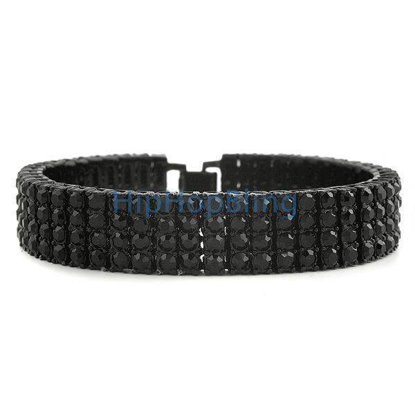 Black on Black 4 row Bling Bling Bracelet