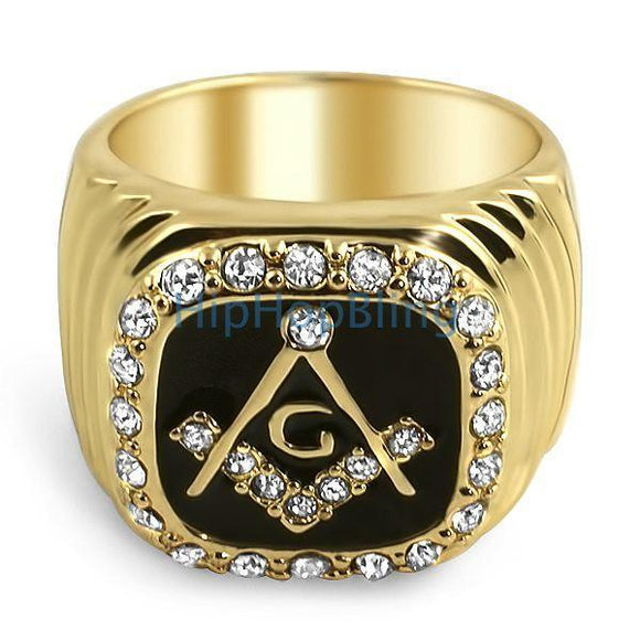 Masonic Gold Bling Bling Mens Ring