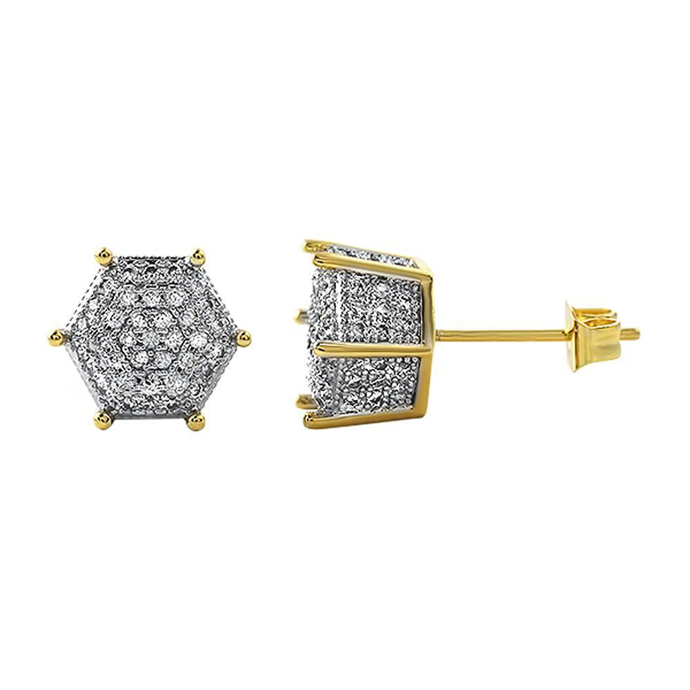 Gold 3D Pentagon CZ Micro Pave Earrings
