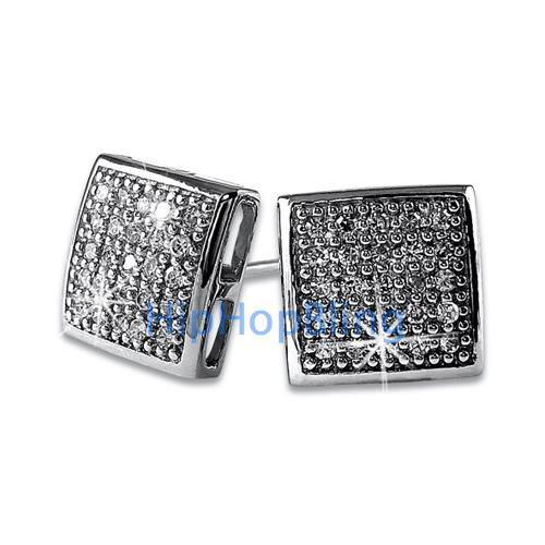 Puffed Box Medium CZ Micro Pave Earrings .925 Silver