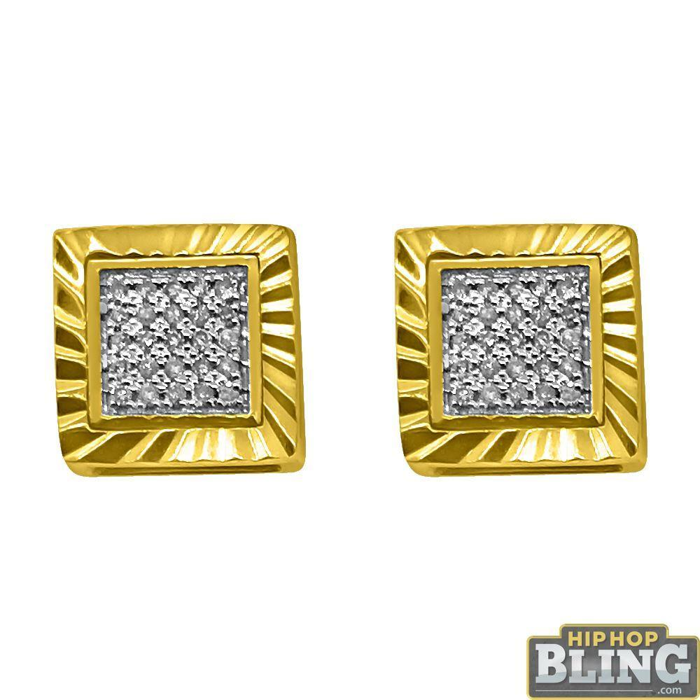 10K Yellow Gold .10cttw Diamond Cut Box Earrings