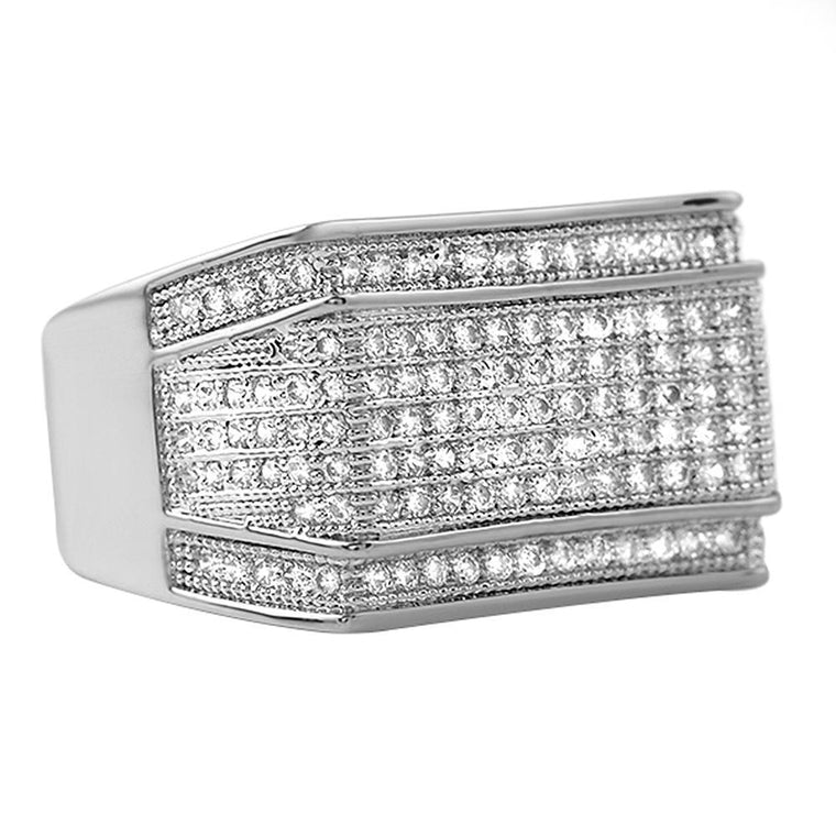 Imperial Rhodium CZ Hip Hop Ring
