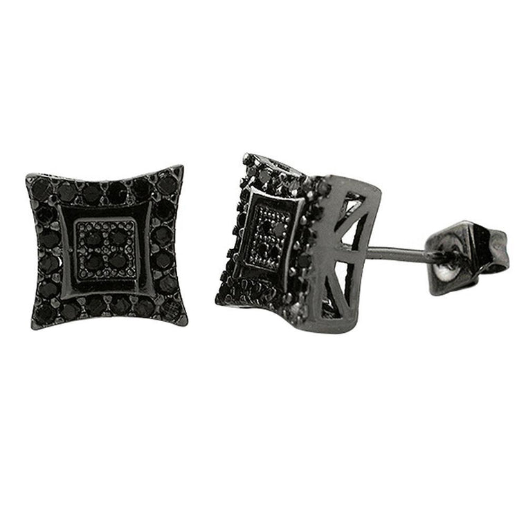 Double Kite M Black CZ Micro Pave Earrings