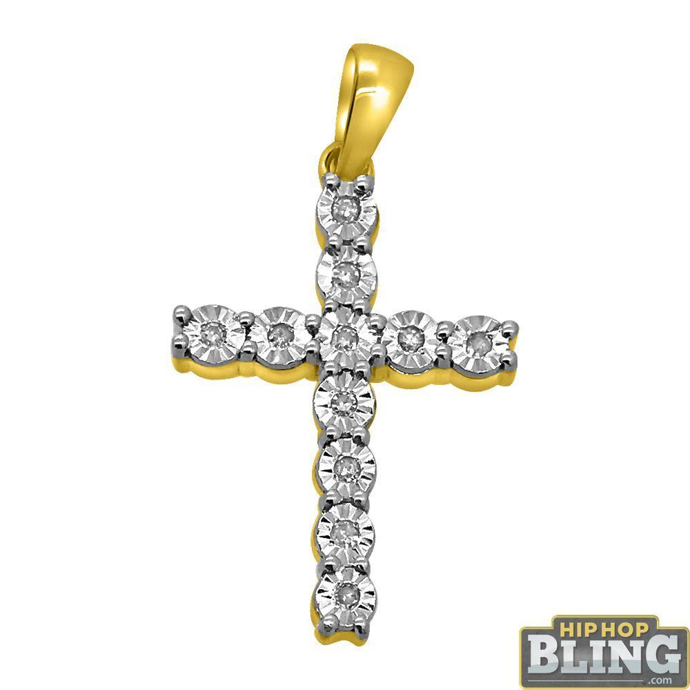 10K Gold .10cttw Diamond Fanook Tennis Cross
