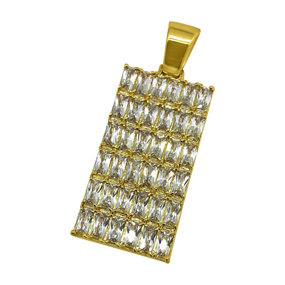 .925 Silver Baguette CZ Bling Bling Gold Dog Tag Pendant (Free 36 Inch Bead Chain)