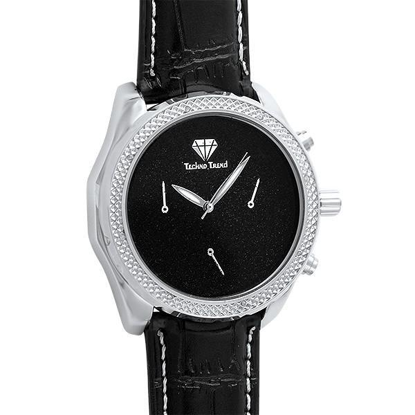 Silver Watch Black Dial & Band .08cttw Diamonds