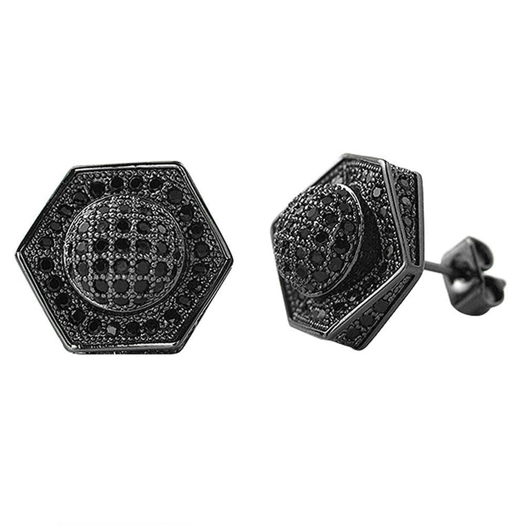 3D Domed Hexagon Black CZ Hip Hop Earrings