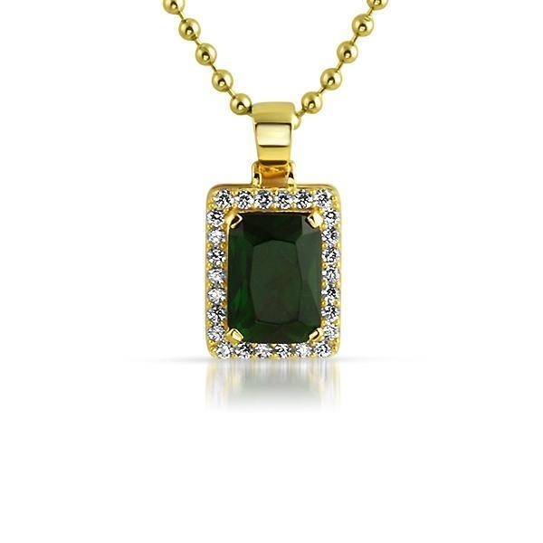 Green Gem .925 Silver Hip Hop Pendant